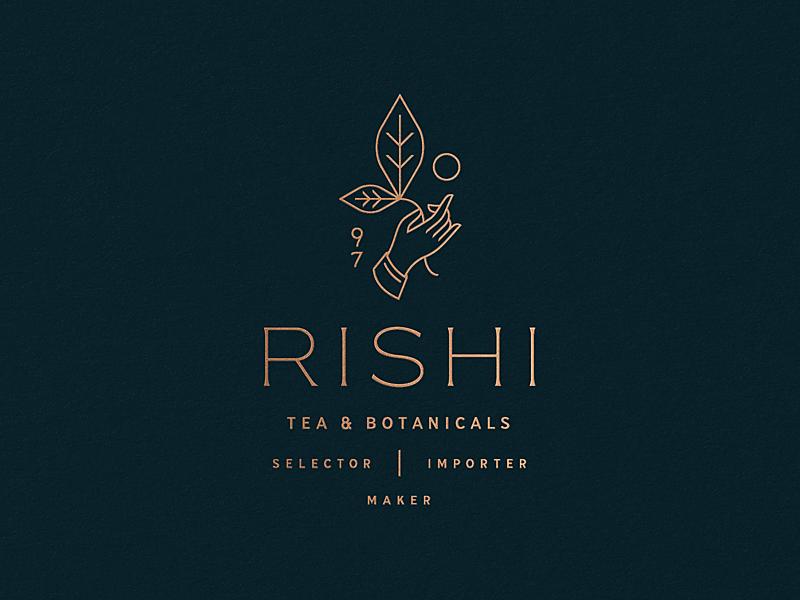 Rishi Tea & Botanicals etc leaves lockup sun hand tea