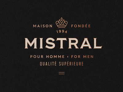 Mistral packaging identity m opper foil lockup logo cologne crown