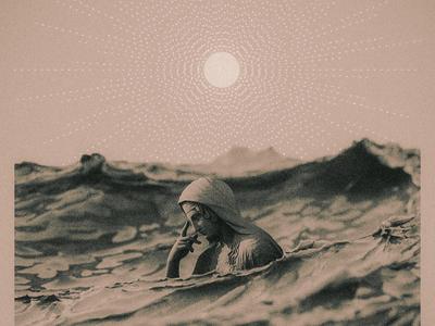 Golden Hour mixtape album cover c4d ocean water woman statue sun