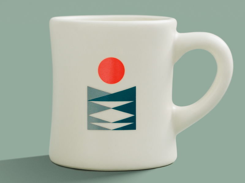 Fika Mug geometric lake mountains sun nature mug