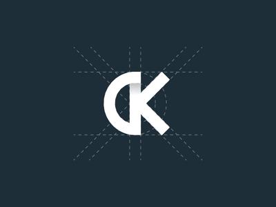 CK typography construction logo ck