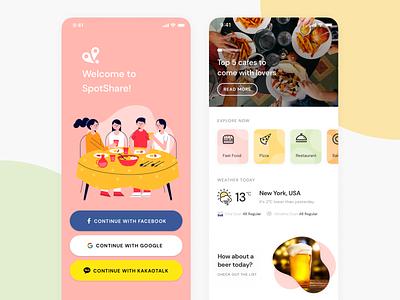 SpotShare Restaurant Exploration App logo minimal typography interface ux branding restaurant app ui korea