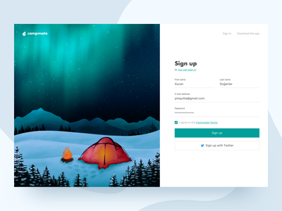 Sign up (Freebie) ux web camp camping signup 1 001 dailyui daily ui branding interface illustration ui