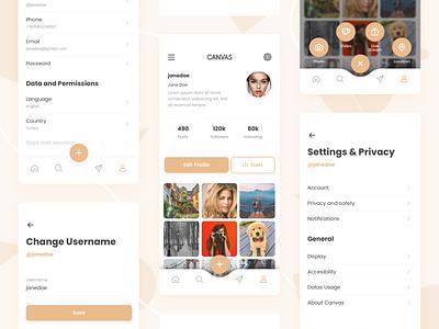 Profile & Settings clean app simple plus photo app toggle menu plus menu profile settings instagram photo design app ux interface ui