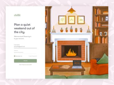 Web Login Screen With Illustration