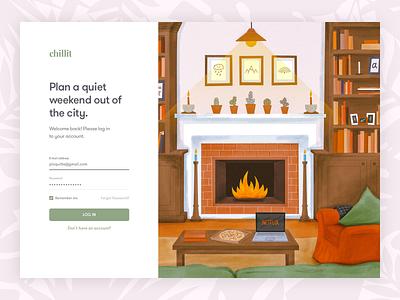 Web Login Screen With Illustration netflix and chill chill netflix living room livingroom flat web typography logo design illustration ux ui interface