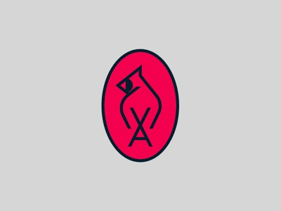 Shy Guy cardinal bird logo bird mark identity logo branding
