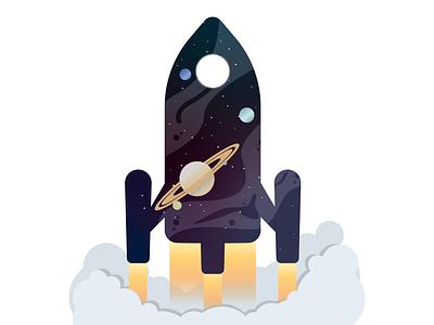 Rocket launch planets space rocket vector draw digital illustration illustrator graphic design illustration