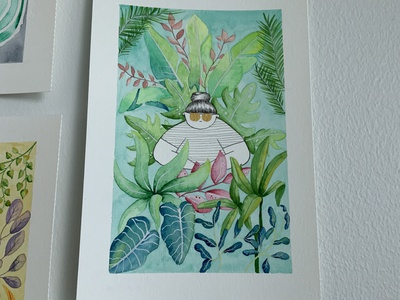 Tropical Minds green pink blue turquoise girl tropical leaves tropical watercolor art watercolor illustration watercolor illustrator draw illustration