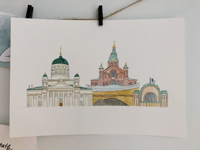 Helsinki skyline | Gone wrong architecture building finland cathedral central station skyline helsinki watercolor draw illustration