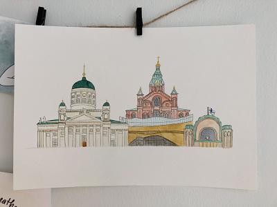 Helsinki skyline | Gone wrong architecture building finland cathedral central station skyline helsinki watercolor draw illustration