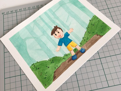 The joys of the forest finland blueberry childrens illustration childrens book kids illustration children boy forest draw nature watercolor illustration