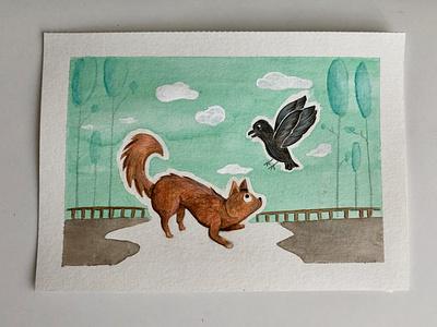 Playtime play colored pencil animal illustration park crow dog animal nature illustrator watercolor illustration