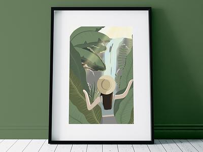 Hidden Place waterfall travel girl sun tropical forest procreate digital illustration nature illustration