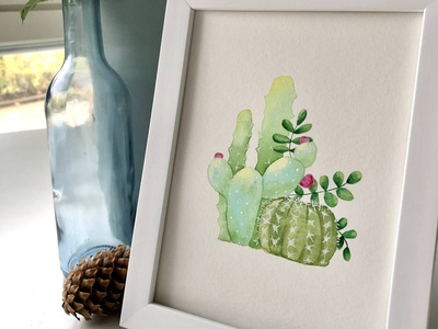 The Green SIde painting wall decor wall art succulent cactus illustration cactus nature watercolor illustration