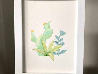 Cool Summer wall art walldecor traditional art cactus illustration succulent cactus nature watercolor illustrator illustration