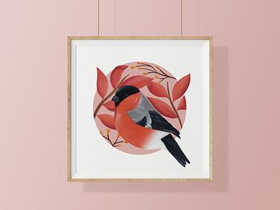 Euroasian Bullfinch botanical birds digital illustration nature illustrator illustration