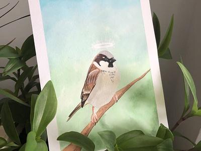 Sparrow bird draw watercolor nature illustrator illustration