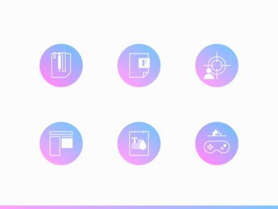 Icons games text color content goal font tools minimalist outline gradient infographic icon