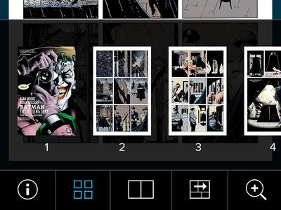 DC Comic Book Reader icons tool bar reader comic mobile