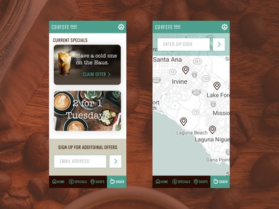 Covfefe App - Specials & Locations promotions promos offers location map earthy daily ui ui challenge mobile app covfefe coffee