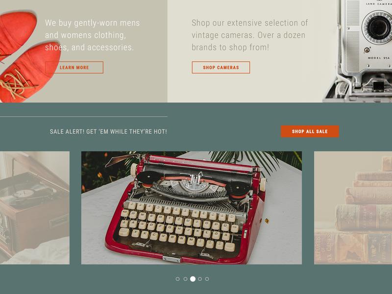 Vintique - Promos ui cta slider sale promotions promos ecommerce orange red retro electronics shoes shop retail antique vintage ui challenge daily ui