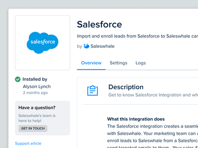 Salesforce Integration Setup Page saas app platform integration marketing b2b sales sfdc salesforce b2b saas