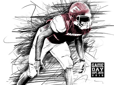 Game Day Promotional event photoshop pencil illustration football sports