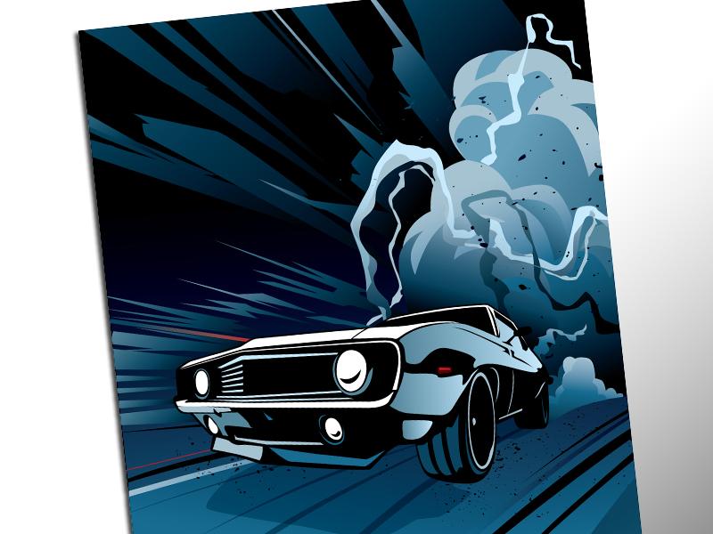 1st Gen Camaro poster design promotional muscle car marketing car auto adobe illustrator camaro illustration