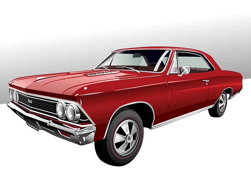 1966 Chevelle 1966 retro design car vintage automotive muscle car illustration