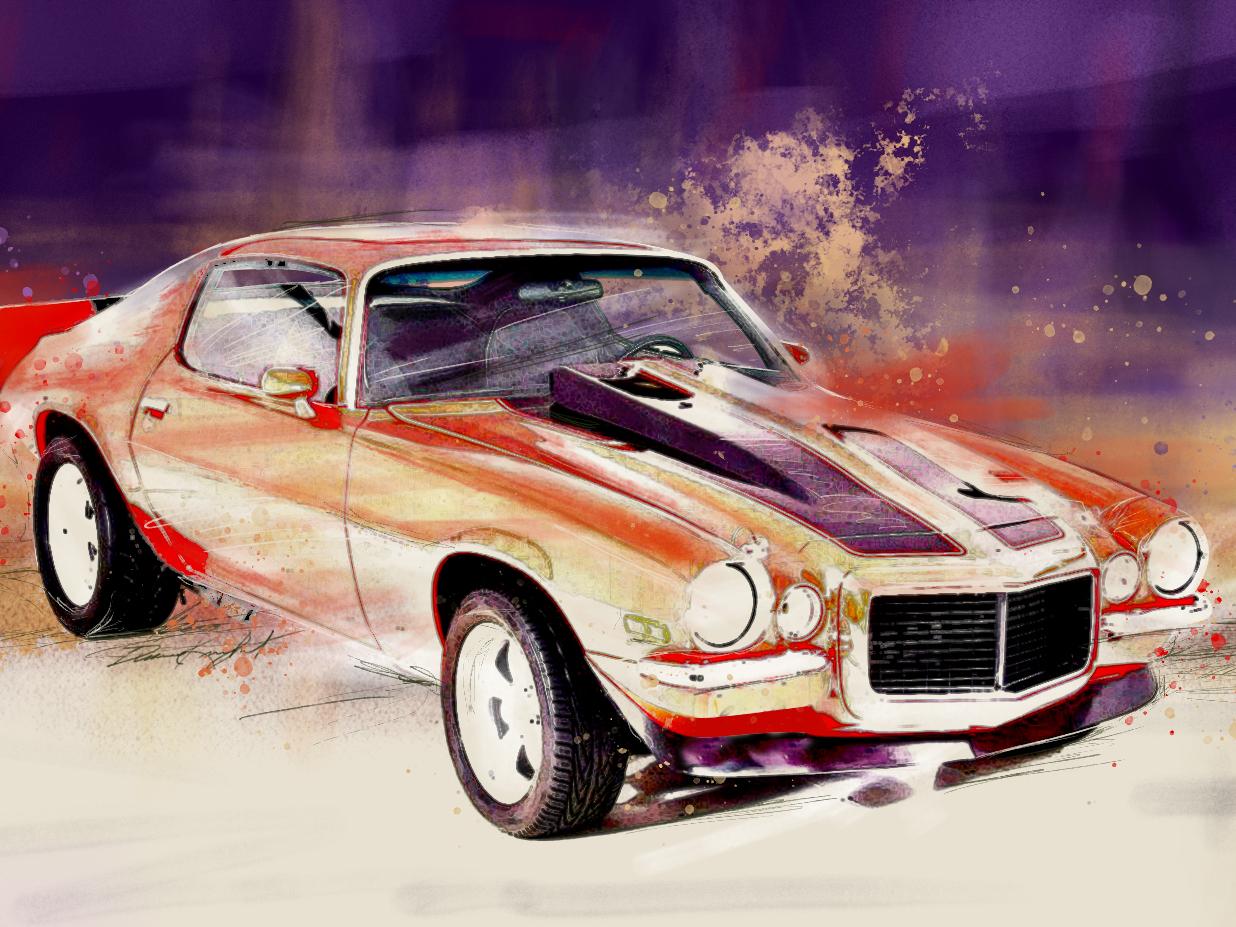 1973 Camaro Illustration publishing pencil camaro muscle car automotive photoshop illustration