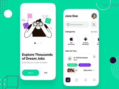 Dream Job Search Mobile Application UI jobsearch jobs glass effect website mobile app design design iphonex uiux ux ui