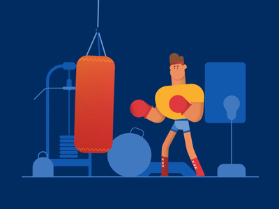 Punch on! blue illustration design animation cartoon vector workout 2d rig character exercise gym fight boxing boxer