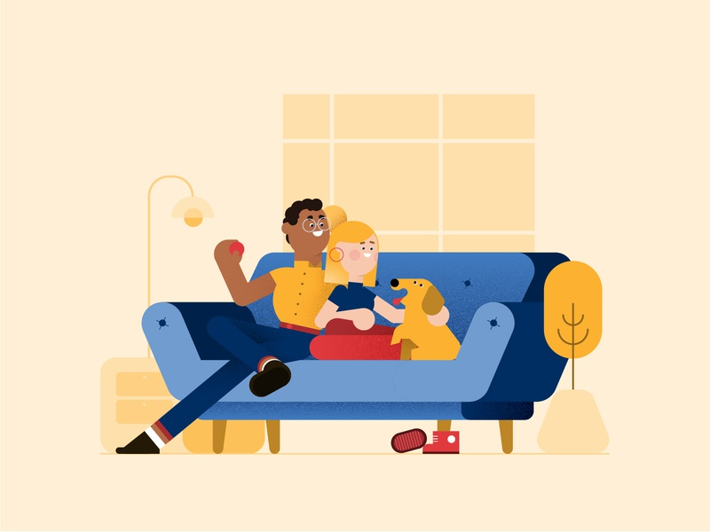 Home Time interior couch sofa styleframe home style vector illustration design 2d character dog