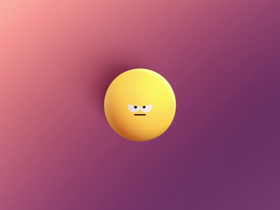 Bottled Up DRIBBLE animation character outline hand smiley yellow purple redshift render cel 3d 2d burst pop bottle angry sad happy emotion emoji