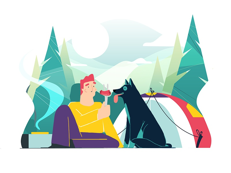 Sausage Dog! animal forest food design style character nature dog camping