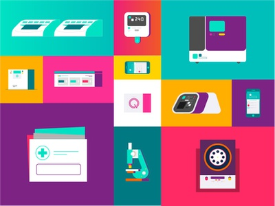 Colours in tech microscope technology concept device medical yellow purple green icons uiux tech illustration design 2d