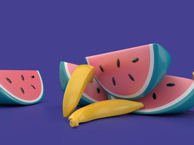 Fruit Frenzy food healthy fruit bananas watermelon summer gummy candy floaty blue purple design 3d maya toys animation bouncy bounce soft
