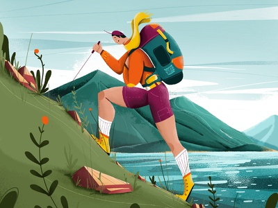 Hiker air fresh wild wildlife flowers enviroment boots plants nature lake mountain newzealand wanaka summer illustration design cel animation character 2d