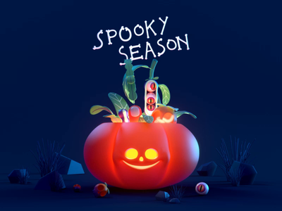Spooky Season plants fall october illustration design green purple veggies garden hand eye animation 3d character scary night plant vegetable pumpkin halloween