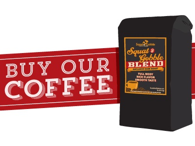 Squat & Gobble Blend Coffee coffee label packaging illustration branding