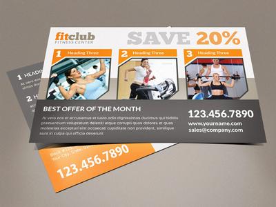 Fitness Club Postcard slim fat workout grey orange gym club marketing fitness