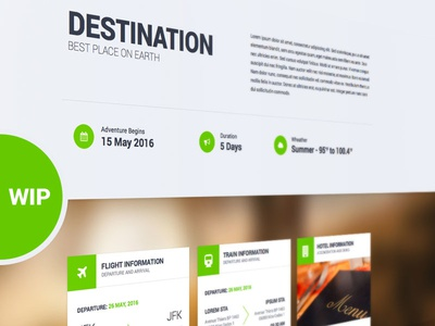 Destination - WIP green nature beach group booking photography travel landing page tour