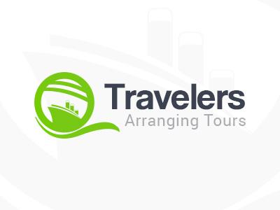 Travelers Logo air arrange tour traveler identity branding logo ship cruise travel