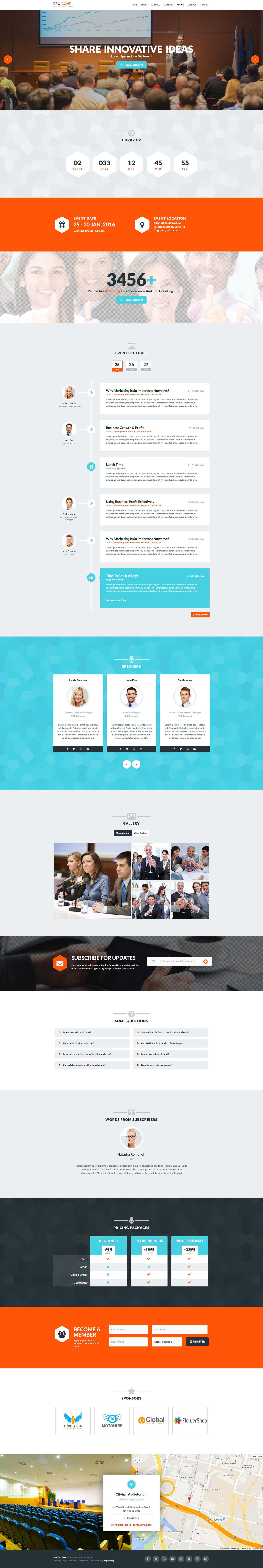 Proconf event landing page by saptarang
