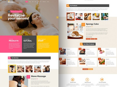 Product and Services Landing Page milk shake parlor ice cream cupcake bread bakery hair salon beauty massage therapy spa