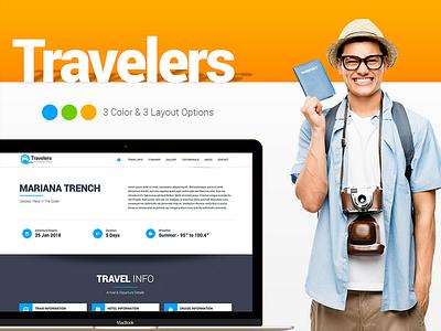 Traveler - Responsive Landing Page cruise railway place web lanbding itinarary booking nature beach travel tour world