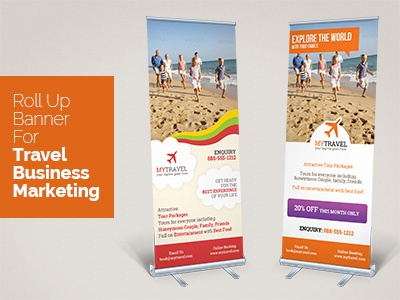 My Travel Roll Up Banner cruise plane package tour travel agency template print banner rollup