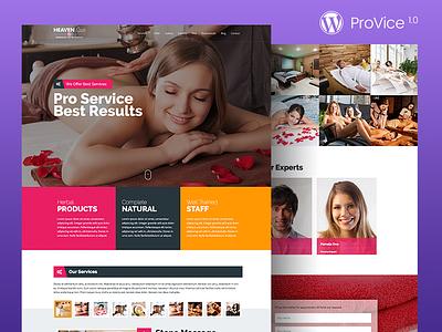 ProVice WordPress Landing Page Theme therapy spa salon parlor massage icecream hair cupcake bread beauty bakery