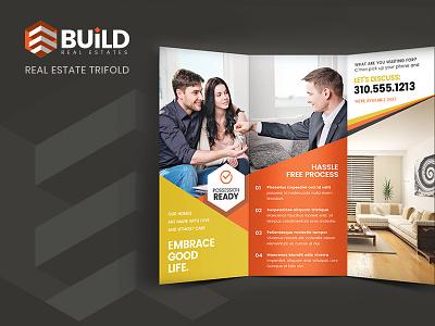 Build Trifold Brochure home living room kitchen property sale rent real estate marketing brochure trifold